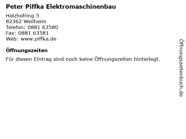 Peter Piffka Elektromaschinenbau in Weilheim: Adresse und Öffnungszeiten