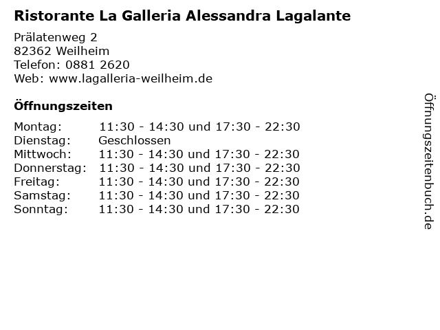 Ristorante La Galleria Alessandra Lagalante in Weilheim: Adresse und Öffnungszeiten