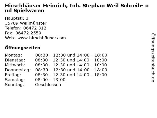 Hirschhäuser Heinrich, Inh. Stephan Weil Schreib- und Spielwaren in Weilmünster: Adresse und Öffnungszeiten