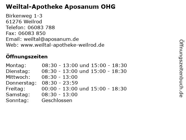 Weiltal-Apotheke in Weilrod: Adresse und Öffnungszeiten