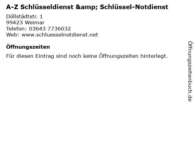 A-Z Schlüsseldienst & Schlüssel-Notdienst in Weimar: Adresse und Öffnungszeiten