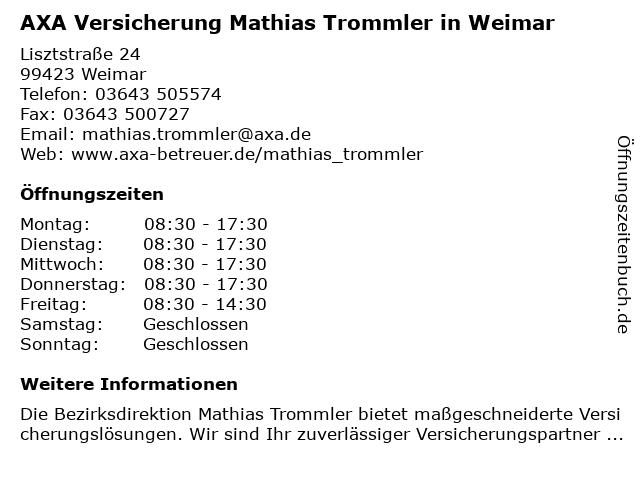 AXA Bezirksdirektion Mathias Trommler in Weimar: Adresse und Öffnungszeiten