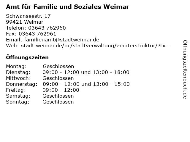 Amt für Familie und Soziales Weimar in Weimar: Adresse und Öffnungszeiten