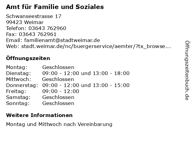 Amt für Familie und Soziales in Weimar: Adresse und Öffnungszeiten