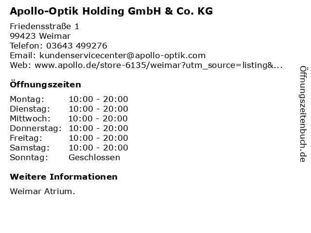 Apollo-Optik Holding GmbH & Co. KG in Weimar: Adresse und Öffnungszeiten