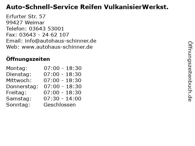 Auto-Schnell-Service Reifen VulkanisierWerkst. in Weimar: Adresse und Öffnungszeiten