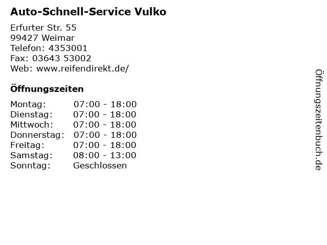Auto-Schnell-Service Vulko in Weimar: Adresse und Öffnungszeiten
