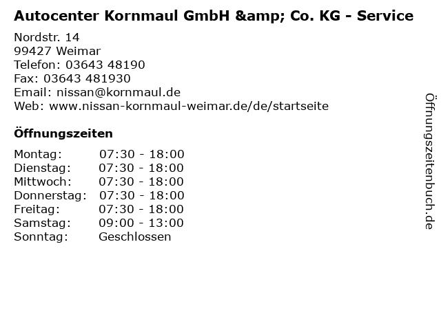 Autocenter Kornmaul GmbH & Co. KG - Service in Weimar: Adresse und Öffnungszeiten