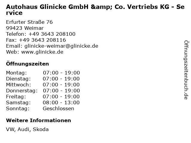 Autohaus Glinicke GmbH & Co. Vertriebs KG - Service in Weimar: Adresse und Öffnungszeiten