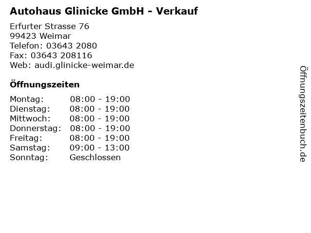 Autohaus Glinicke GmbH - Verkauf in Weimar: Adresse und Öffnungszeiten