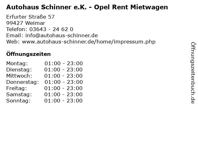 Autohaus Schinner e.K. - Opel Rent Mietwagen in Weimar: Adresse und Öffnungszeiten