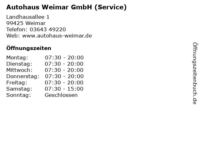 Autohaus Weimar GmbH (Service) in Weimar: Adresse und Öffnungszeiten