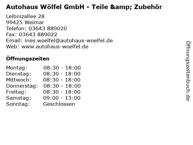 Autohaus Wölfel GmbH - Teile & Zubehör in Weimar: Adresse und Öffnungszeiten