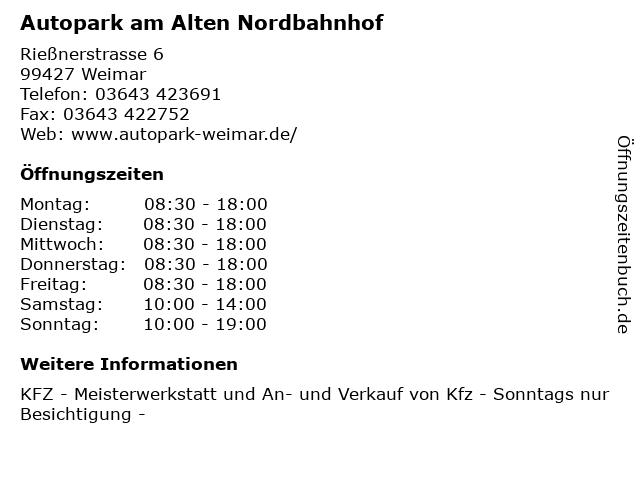 Autopark am Alten Nordbahnhof in Weimar: Adresse und Öffnungszeiten