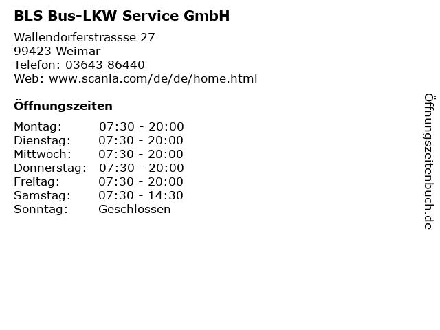 BLS Bus-LKW Service GmbH in Weimar: Adresse und Öffnungszeiten