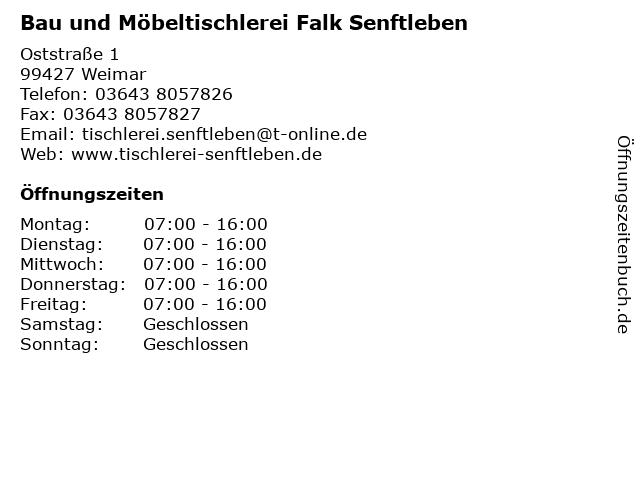 Bau und Möbeltischlerei Falk Senftleben in Weimar: Adresse und Öffnungszeiten