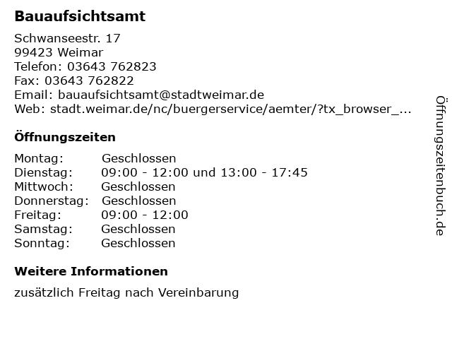 Bauaufsichtsamt in Weimar: Adresse und Öffnungszeiten