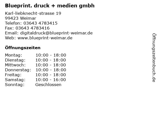 Blueprint. druck + medien gmbh in Weimar: Adresse und Öffnungszeiten
