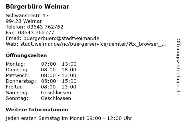 Bürgerbüro Weimar in Weimar: Adresse und Öffnungszeiten