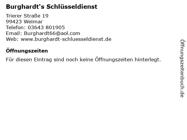 Burghardt's Schlüsseldienst in Weimar: Adresse und Öffnungszeiten