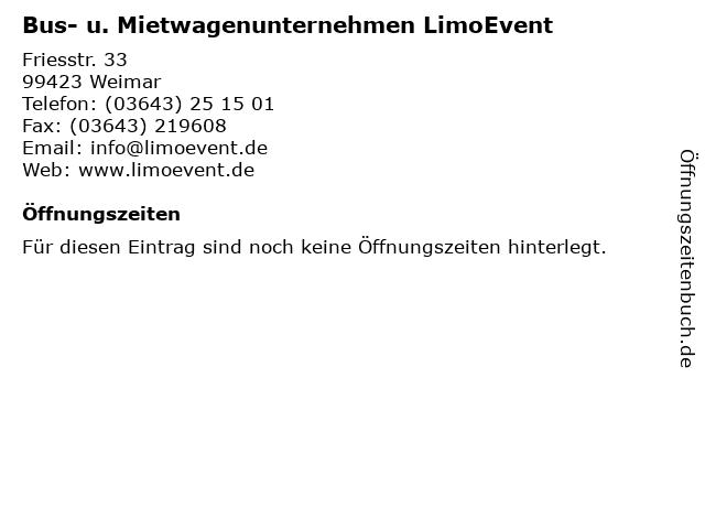 C & T LimoEvent in Weimar: Adresse und Öffnungszeiten