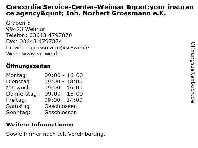 """Concordia Service-Center-Weimar """"your insurance agency"""" Inh. Norbert Grossmann e.K. in Weimar: Adresse und Öffnungszeiten"""