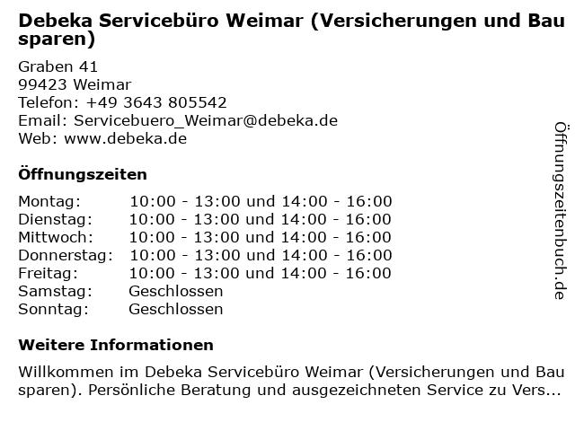Debeka Servicebüro Weimar in Weimar: Adresse und Öffnungszeiten