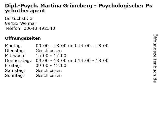 Dipl.-Psych. Martina Grüneberg - Psychologischer Psychotherapeut in Weimar: Adresse und Öffnungszeiten