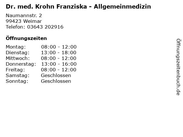 Dr. med. Krohn Franziska - Allgemeinmedizin in Weimar: Adresse und Öffnungszeiten