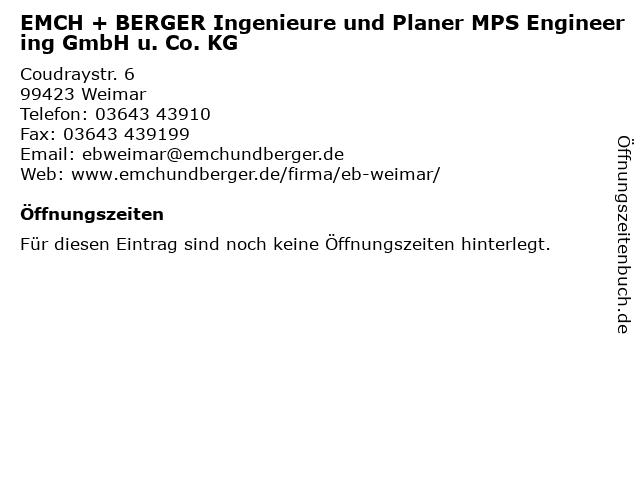 EMCH + BERGER Ingenieure und Planer MPS Engineering GmbH u. Co. KG in Weimar: Adresse und Öffnungszeiten