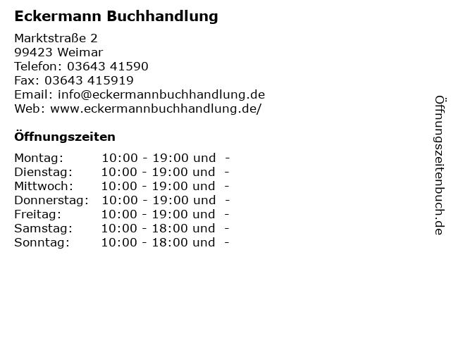 Eckermann Buchhandlung in Weimar: Adresse und Öffnungszeiten