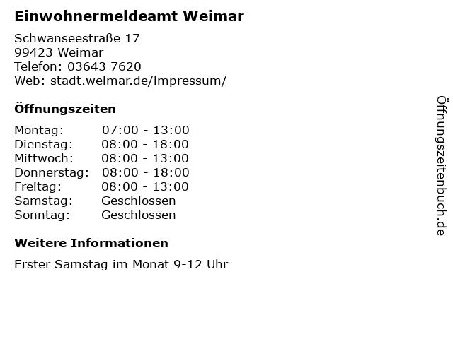 Einwohnermeldeamt Weimar in Weimar: Adresse und Öffnungszeiten