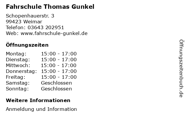 Fahrschule Thomas Gunkel in Weimar: Adresse und Öffnungszeiten