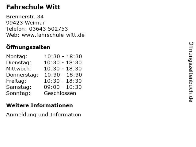 Fahrschule Witt in Weimar: Adresse und Öffnungszeiten
