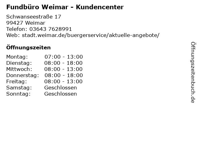 Fundbüro Weimar - Kundencenter in Weimar: Adresse und Öffnungszeiten