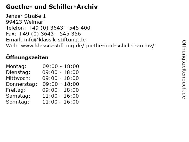 Goethe- und Schiller-Archiv in Weimar: Adresse und Öffnungszeiten