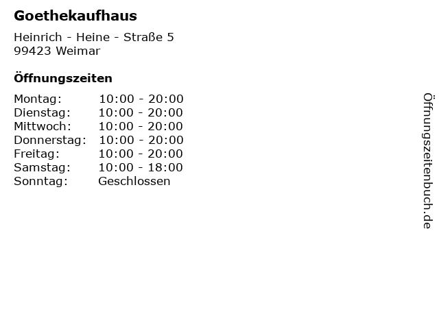 Goethekaufhaus in Weimar: Adresse und Öffnungszeiten