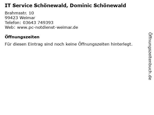 IT Service Schönewald, Dominic Schönewald in Weimar: Adresse und Öffnungszeiten