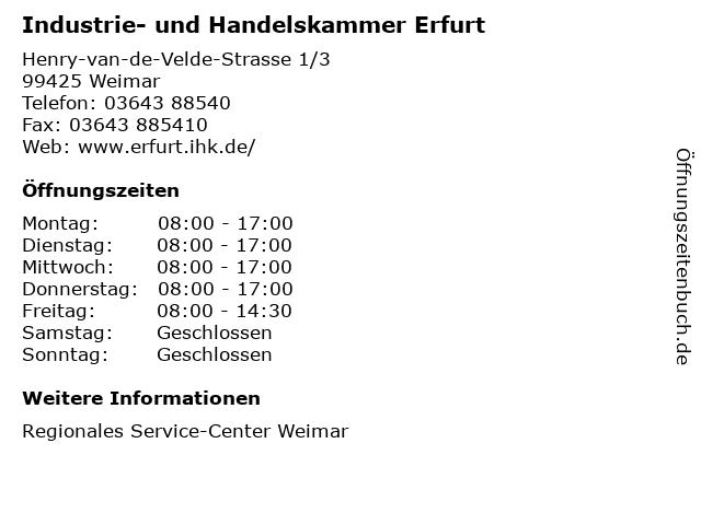 Industrie- und Handelskammer Erfurt in Weimar: Adresse und Öffnungszeiten