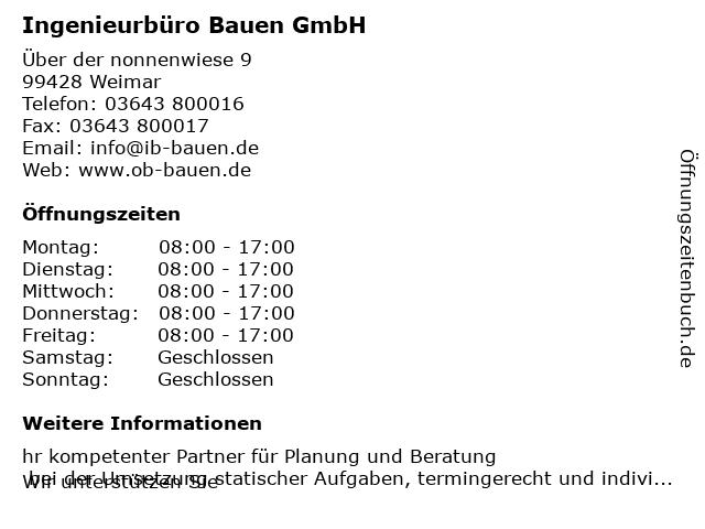 Ingenieurbüro Bauen GmbH in Weimar: Adresse und Öffnungszeiten