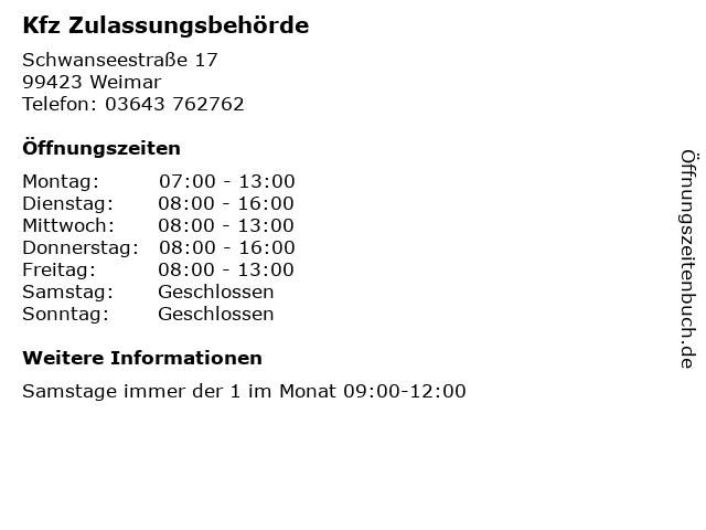 Kfz Zulassungsbehörde in Weimar: Adresse und Öffnungszeiten