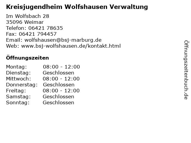 Kreisjugendheim Wolfshausen Verwaltung in Weimar: Adresse und Öffnungszeiten