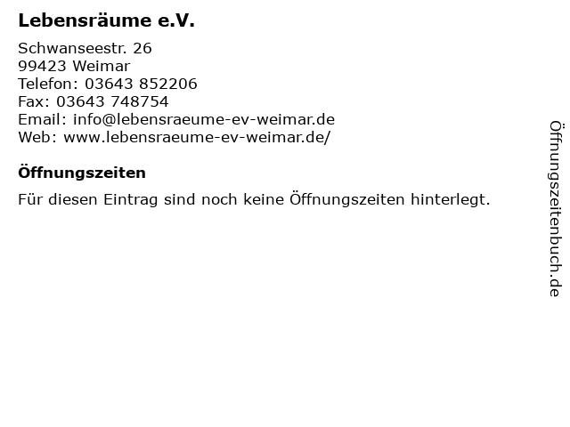 Lebensräume e.V. in Weimar: Adresse und Öffnungszeiten