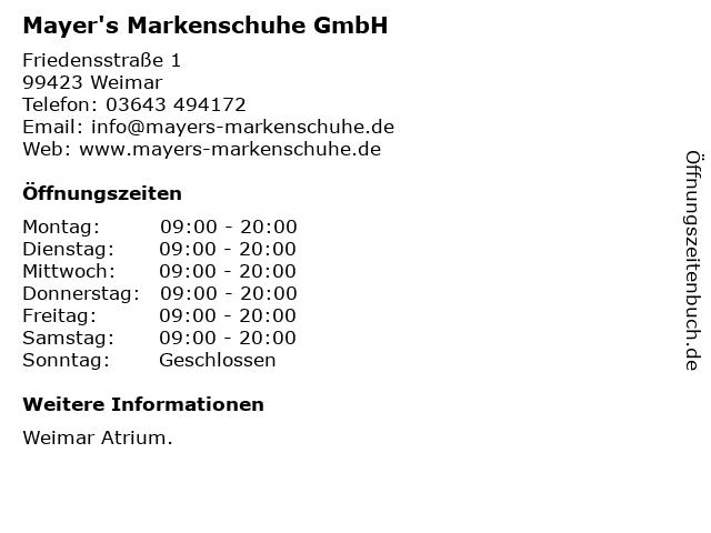 Mayer's Markenschuhe GmbH in Weimar: Adresse und Öffnungszeiten