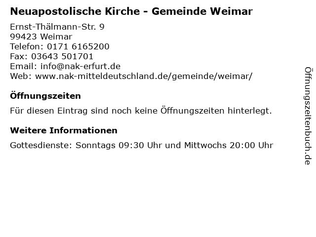 Neuapostolische Kirche - Gemeinde Weimar in Weimar: Adresse und Öffnungszeiten