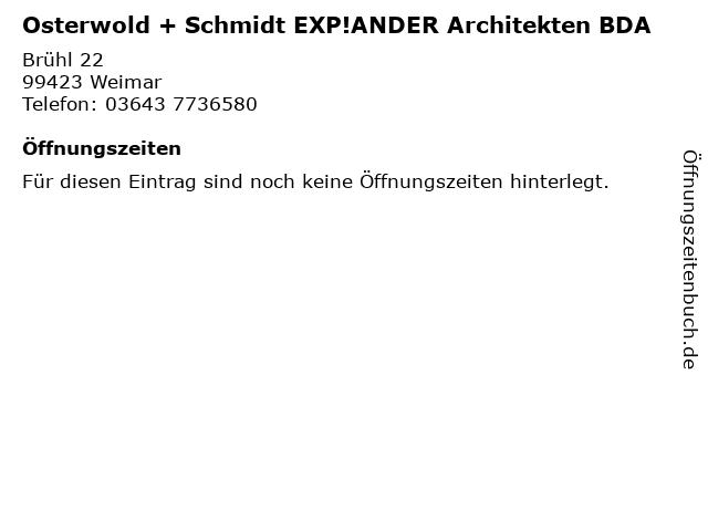 Osterwold + Schmidt EXP!ANDER Architekten BDA in Weimar: Adresse und Öffnungszeiten