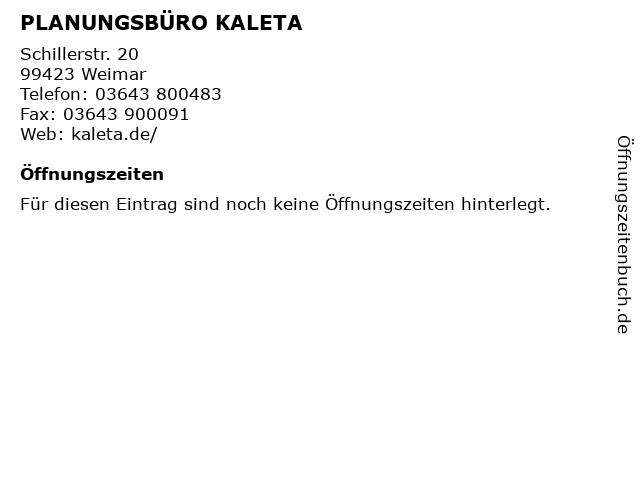 PLANUNGSBÜRO KALETA in Weimar: Adresse und Öffnungszeiten