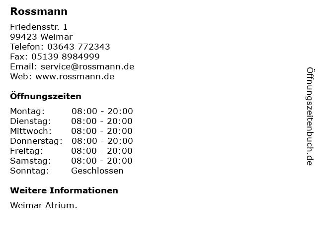 Rossmann in Weimar: Adresse und Öffnungszeiten