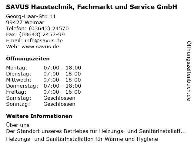 SAVUS Haustechnik, Fachmarkt und Service GmbH in Weimar: Adresse und Öffnungszeiten