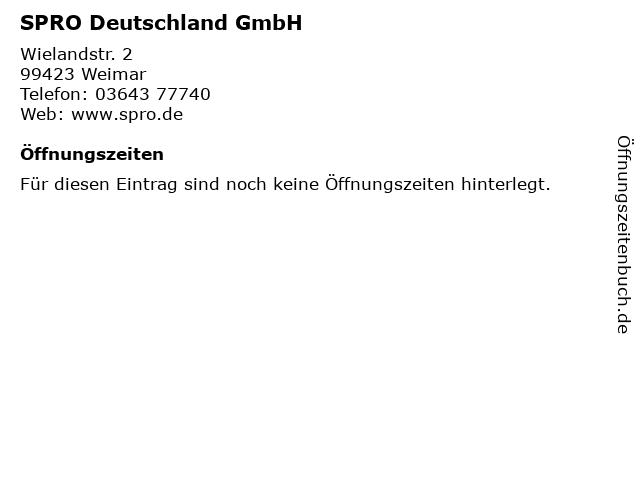SPRO Deutschland GmbH in Weimar: Adresse und Öffnungszeiten